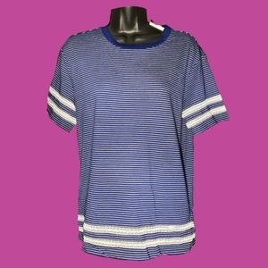 Ralph Lauren Blue Striped Shirt With Lace Strips